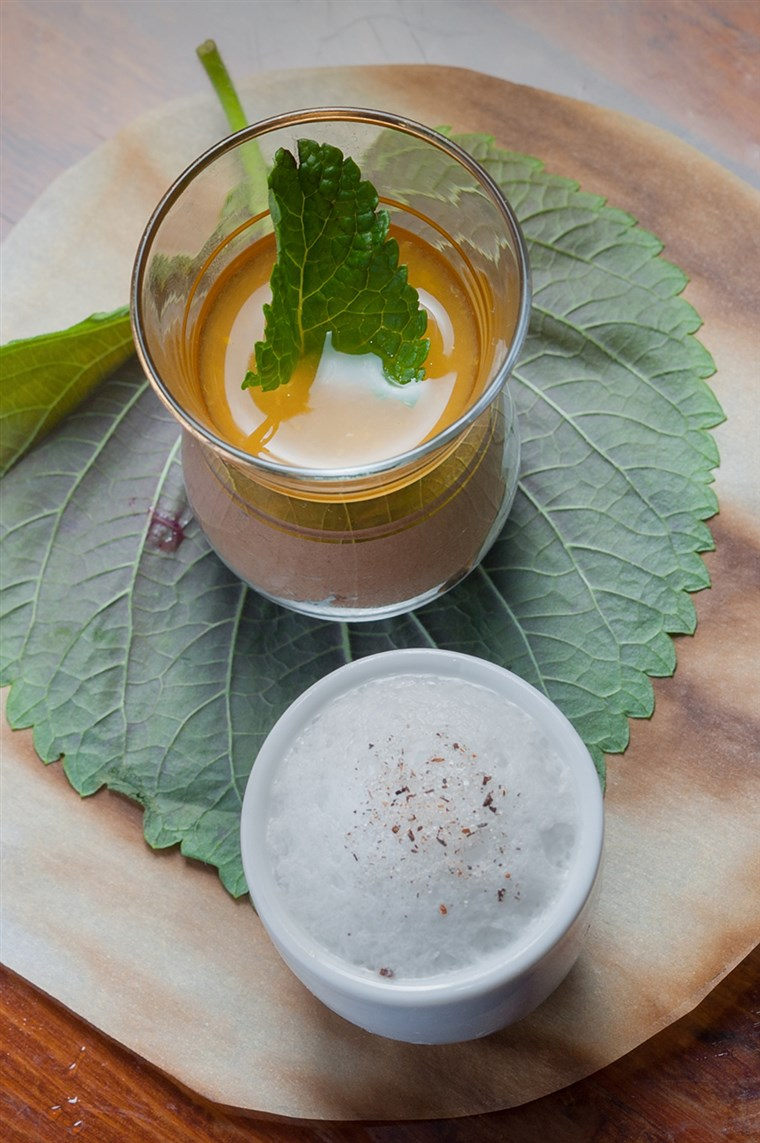 caramelized pannacotta with rum and milk foam by chef Susur Lee.