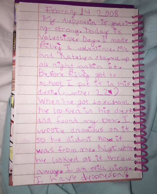 Madie Cardon's diary entry from Feb. 14, 2008.