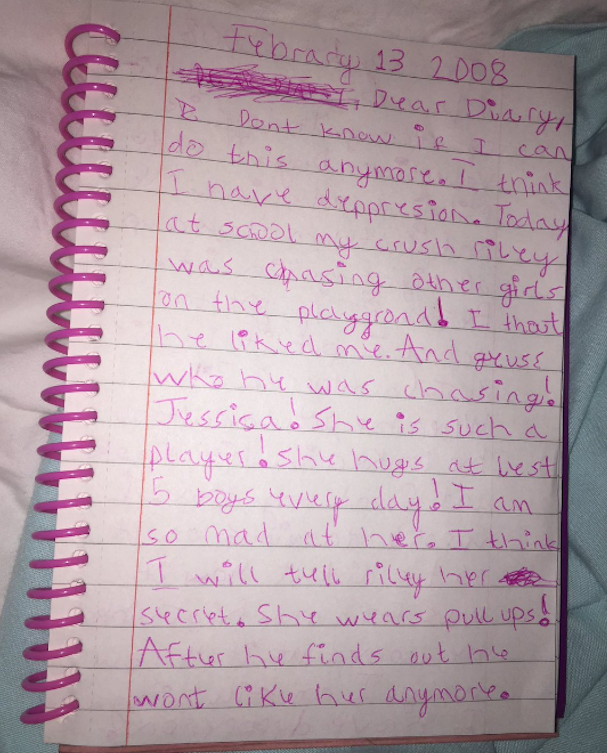 Madie Cardon's diary entry from Feb. 13, 2008.