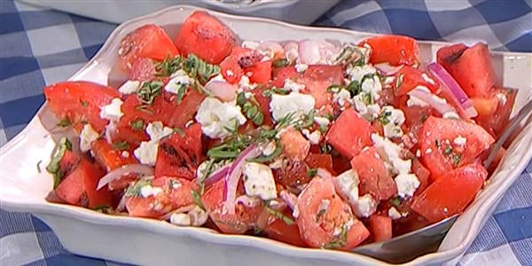 Grillezett Watermelon and Tomato Salad