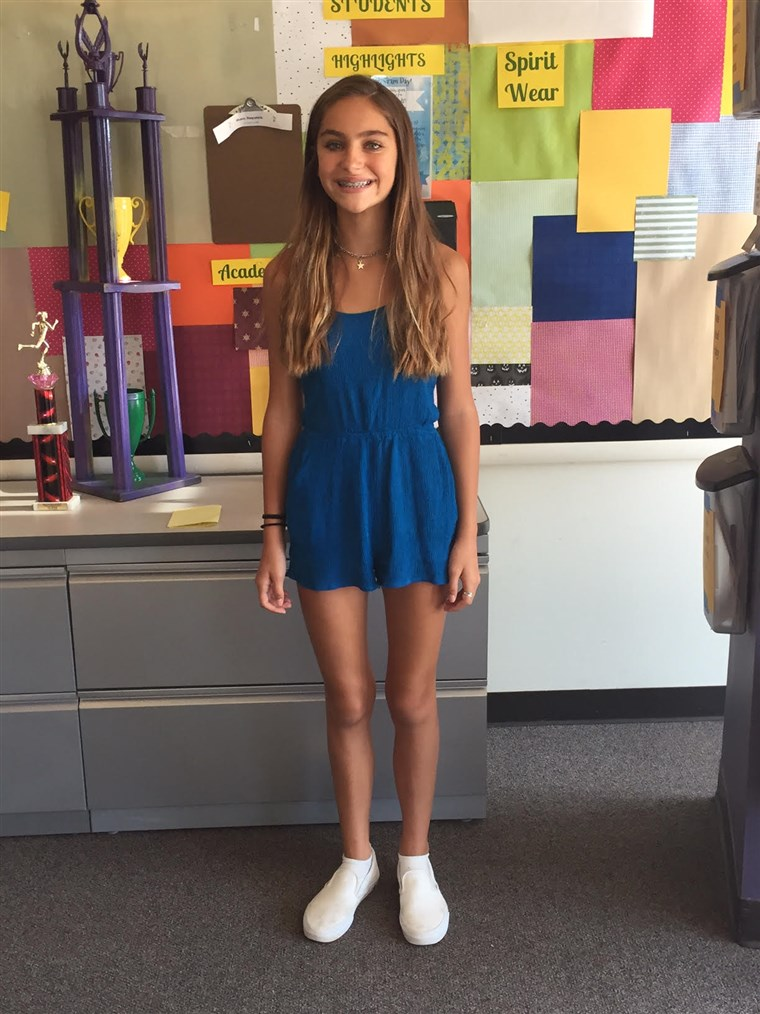 13 éves girl wore a romper to school in apparent violation of the dress code