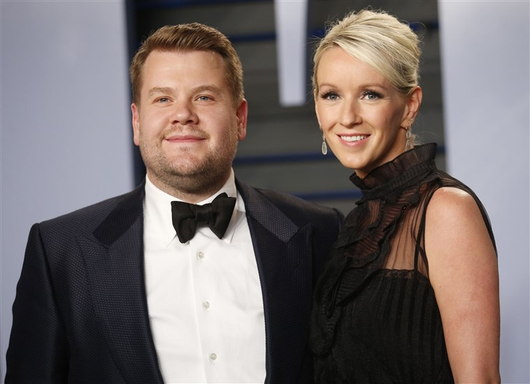 ג'יימס Corden and his wife Julia Carey