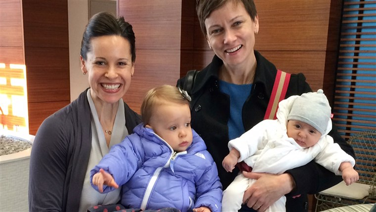 Jenna Wolfe, Stephanie Gosk, and daughters Harper and Quinn