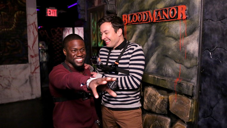 Kevin Hart and host Jimmy Fallon during the