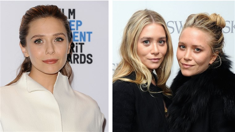 אליזבת Olsen and her grown-up twin sisters Mary Kate and Ashley, today.
