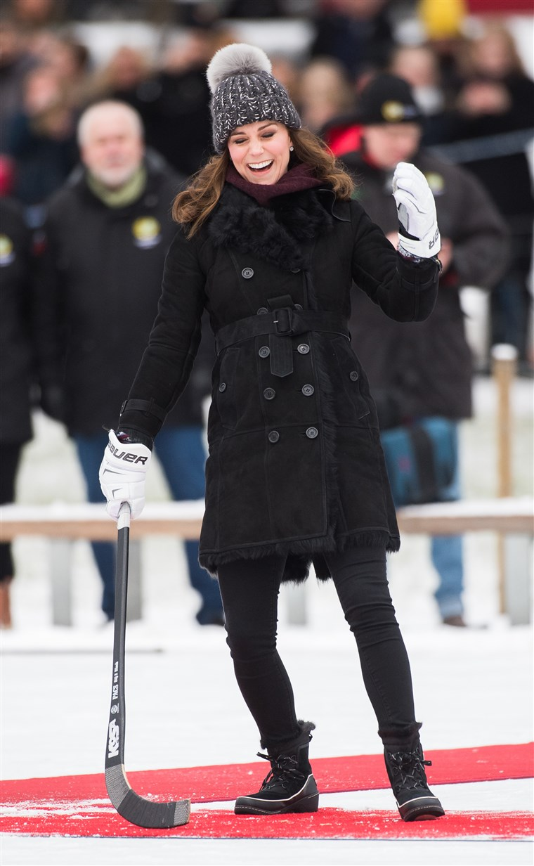 Kate Duchess of Cambridge, sports winter style while playing bandy hockey