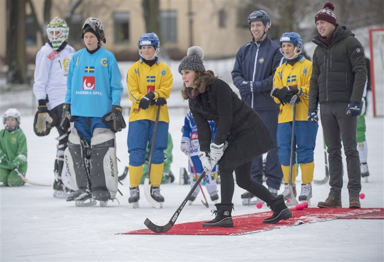 Kate Duchess of Cambridge, in a bandy hockey shootout