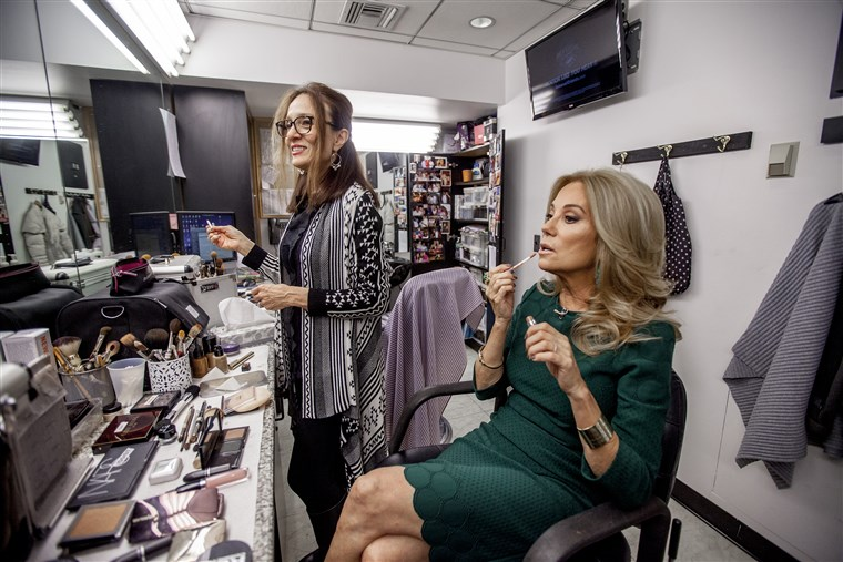 Kathie Lee applies some makeup before her show.