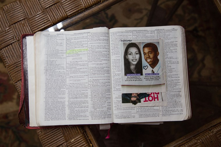 ए photo of Kim and Kanye inside Alice Johnson's bible