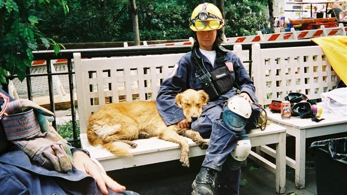 Denise Corliss and Bretagne take a break together at Ground Zero in 2001.