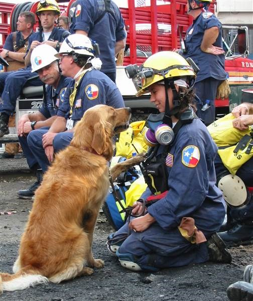 Denise Corliss and search dog Bretagne at Ground Zero in New York City in September 2001.