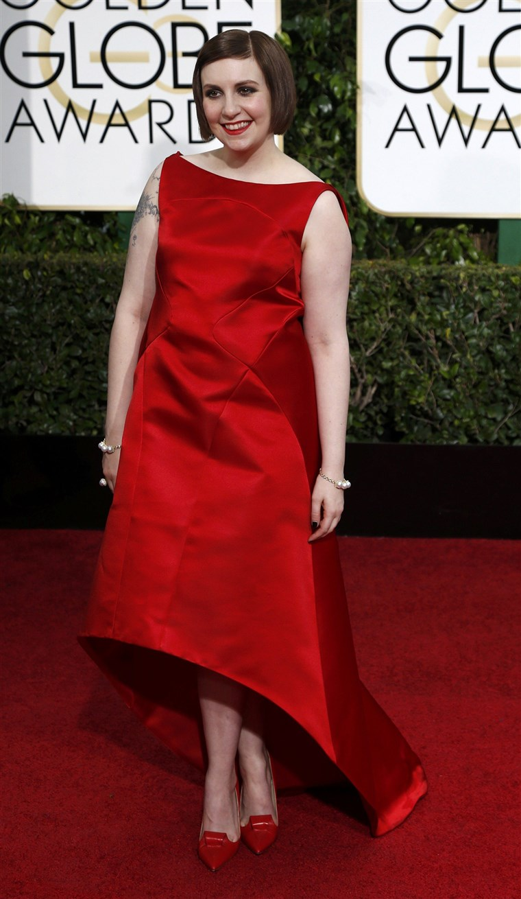 Glumica Lena Dunham arrives at the 72nd Golden Globe Awards in Beverly Hills