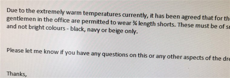 बजरा tweeted this photo of an email from his company, amending its 'no shorts' rule for men at the office.