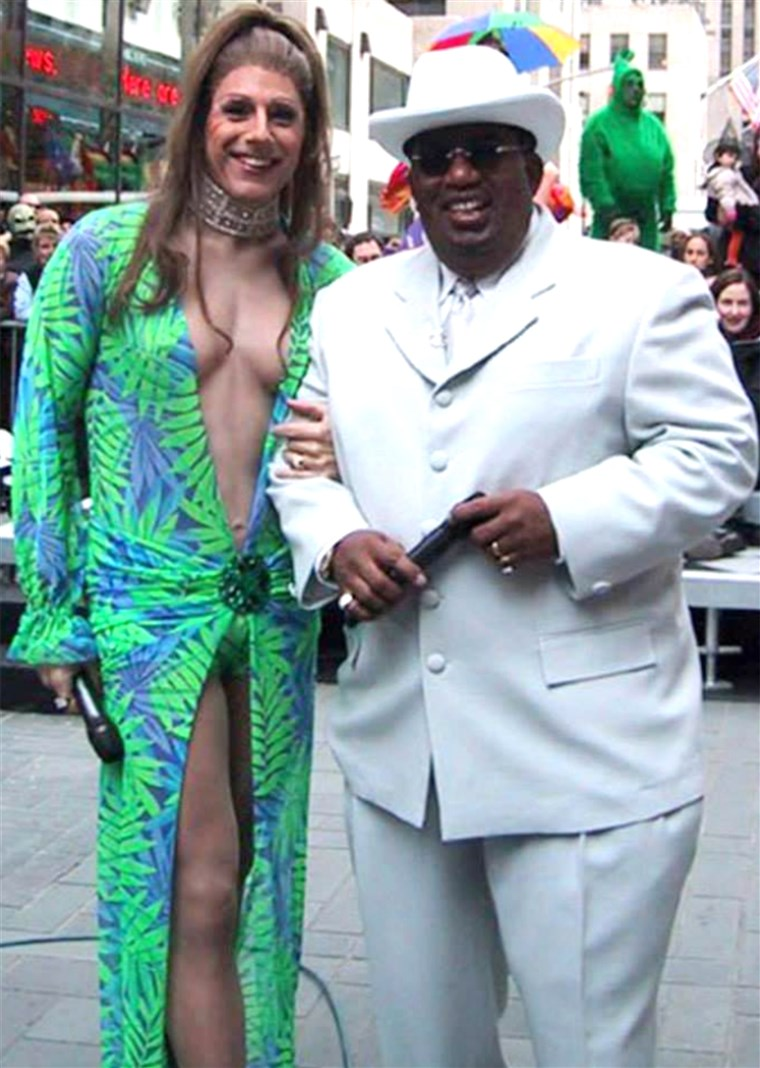 Matt Lauer dressed as pop sensation Jennifer Lopez and Al Roker as Sean