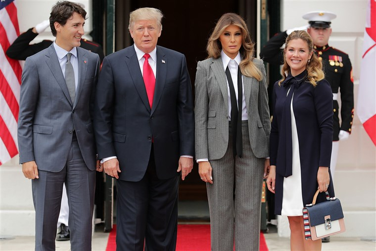 נשיא Trump And First Lady Welcome Canadian Prime Minister Justin Trudeau And His Wife Gregoire To The White House