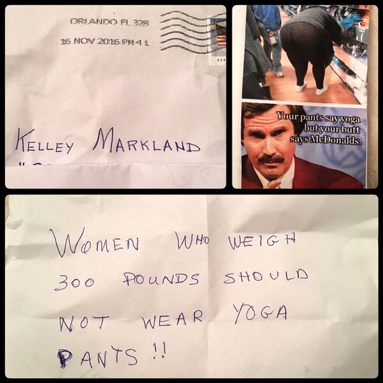 Kelley Markland, a Florida woman was mailed an anonymous letter that mocked her for wearing leggings.