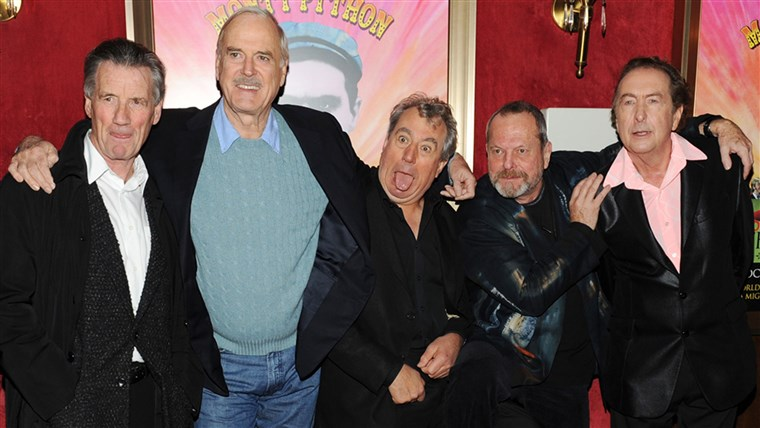 שחקנים Michael Palin, John Cleese, Terry Jones, Terry Gilliam and Eric Idle attend the Monty Python 40th Anniversary.