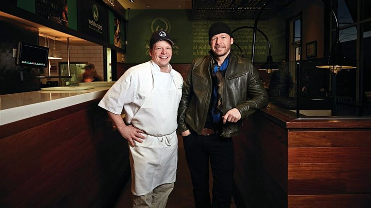 Pavle and Donnie Wahlberg at their restaurant