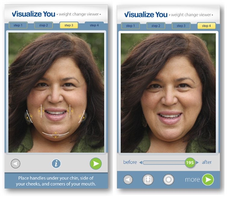 Visualize You app is a unique application that creates a visualization of you at your ideal goal weight.
