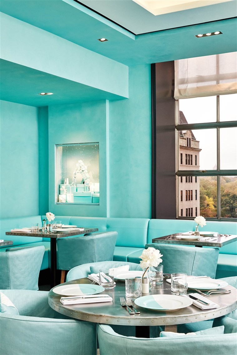 restaurant is decked out in the jeweler's signature robin's egg blue color.