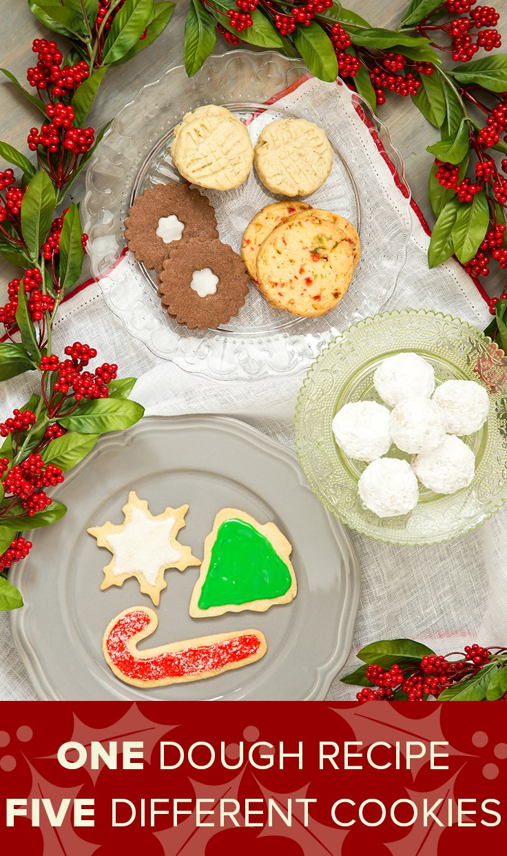 אחד dough recipe makes five different holiday cookies!
