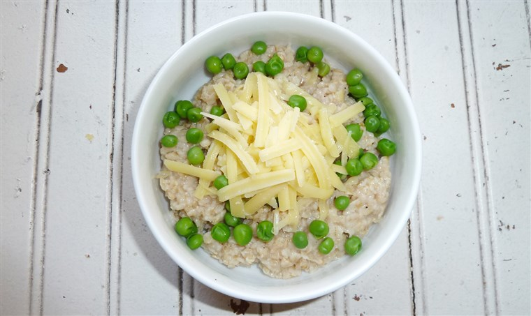 मटर and cheddar oatmeal recipe
