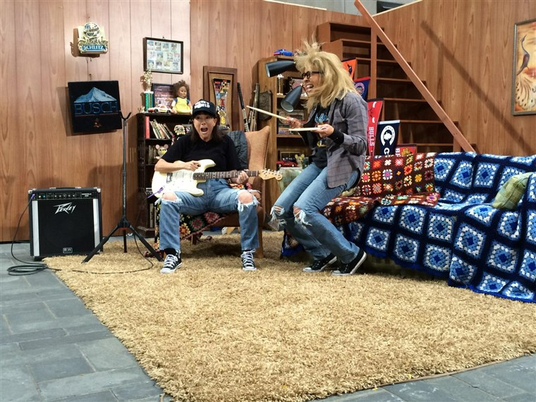 Kathie Lee Gifford and Hoda Kotb rock out as Wayne and Garth.