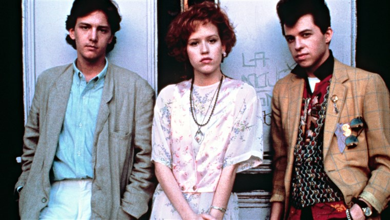 सुंदर IN PINK, Andrew McCarthy, Molly Ringwald, Jon Cryer, 1986, © Paramount / Courtesy: Everett Collection