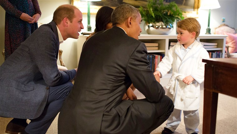 תמונה of Prince George meeting with President Obama at Kensington Palace