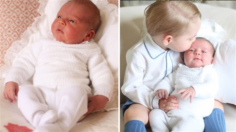 राजकुमार Louis and Prince George with Princess Charlotte