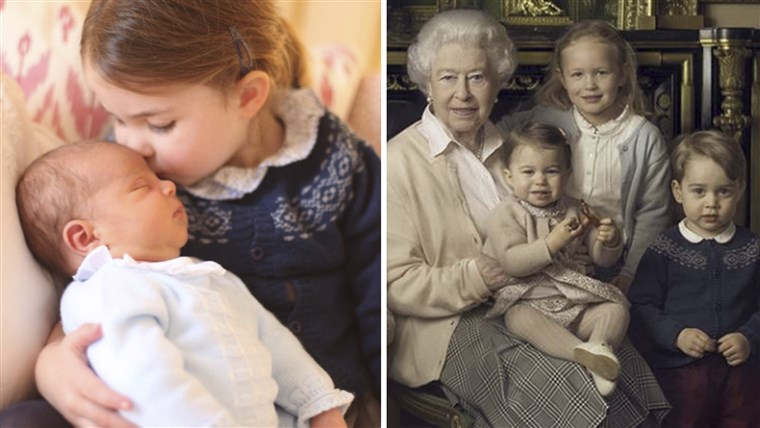 राजकुमारी Charlotte and Prince Louis in new photo, and in older portrait with Queen Elizabeth.