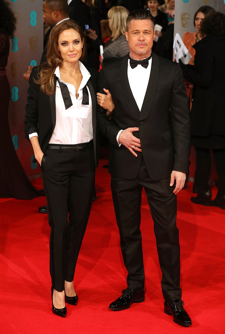 glumci Angelina Jolie and Brad Pitt attend the EE British Academy Film Awards