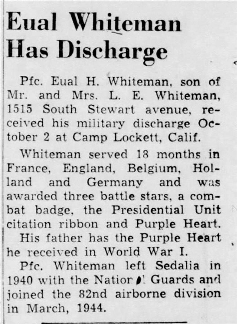 Eual Whiteman's Purple Heart medal ended up in a Goodwill store