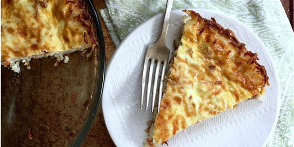 Quiche Lorraine with Hash Brown Crust