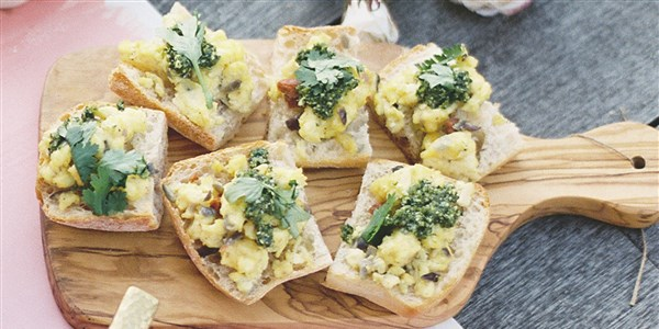 calabriai Scrambled Eggs with Jalapeno Pesto Bruschetta