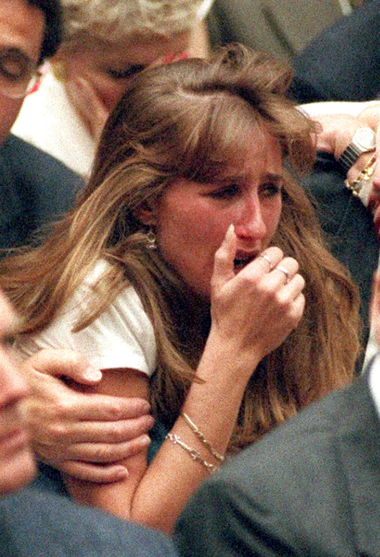 Kim Goldman cries after Simpson's verdict is read in court, 20 years ago.