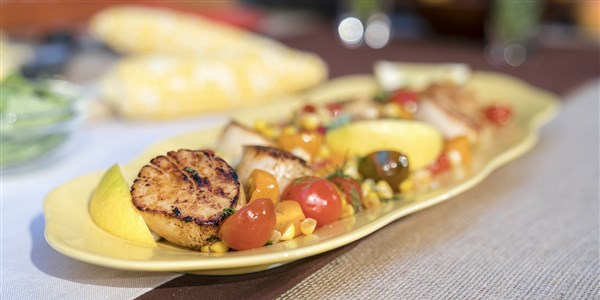 צרוב Scallops with Sweet Corn
