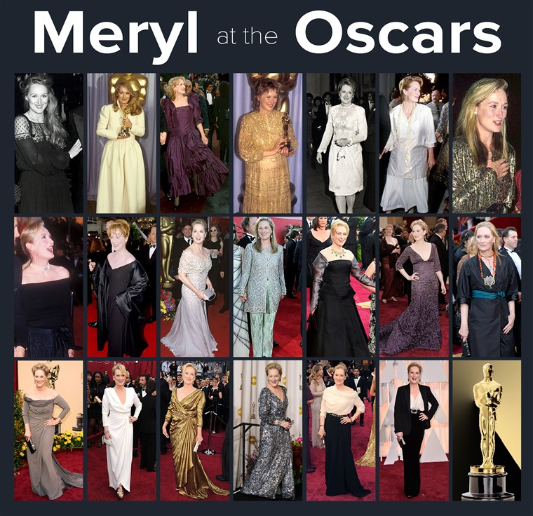 Meryl Streep at the Oscars over the years
