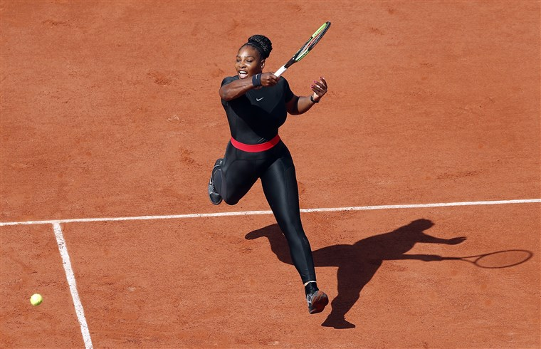 Serena Williams in a black catsuit at the 2018 French Open