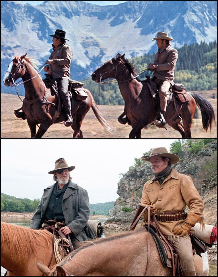 (Top, L-R) Marshall Reuben J. 'Rooster' Cogburn, played by John Wayne and La Boeuf played by Glen Campbell in the 1969 movie, 'True Grit.