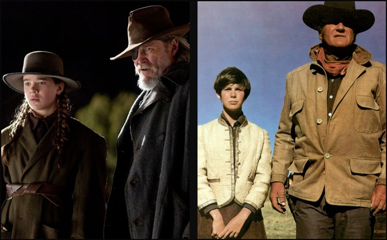 (Balra) Marshall Reuben J. 'Rooster' Cogburn playe by John Wayne and Mattie Ross played by Kim Darby in 1969' True Grit' (R) Jeff Bridges and Hailee Steinfeld in the 2010 version.