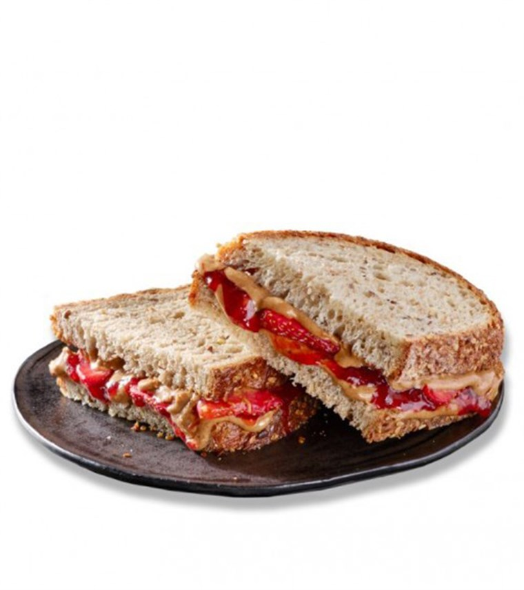 स्टारबक्स' spin on a classic sandwich. Introducing the chain's Crunchy Almond Butter, Strawberries and Jam Sandwich.