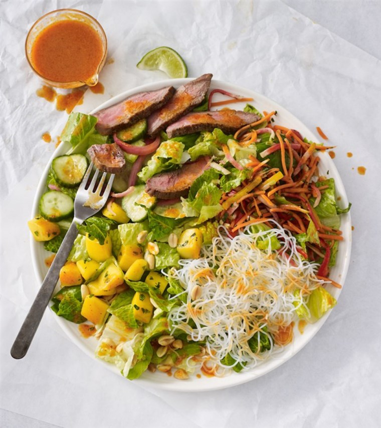 स्टेक and mango salad