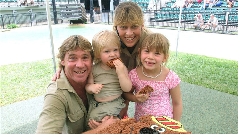 Steve Irwin, with his wife Terri Irwin, daughter Bindi Irwin, and son Bob Irwin, on Bob's 2nd birthday