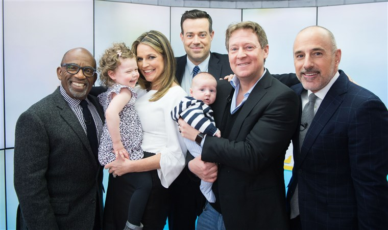 A gang's all here: Al Roker, Savannah Guthrie, Carson Daly, Mike Feldman, Matt Lauer and little ones, Vale and Charley.