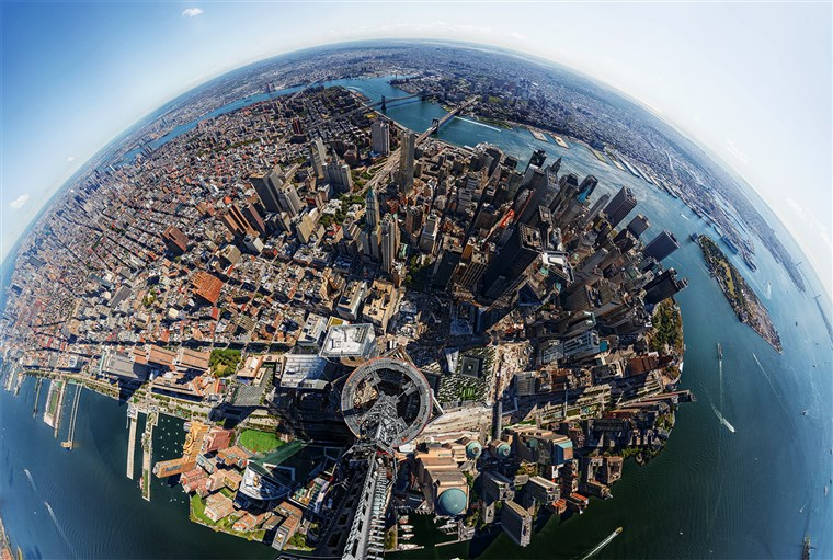 ए view from the top of 1 World Trade Center in NYC.
