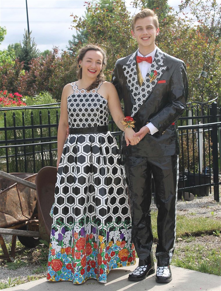 Emily O'Gara and Ethan Weber impressed the judges with their winning Duck Tape prom outfits.
