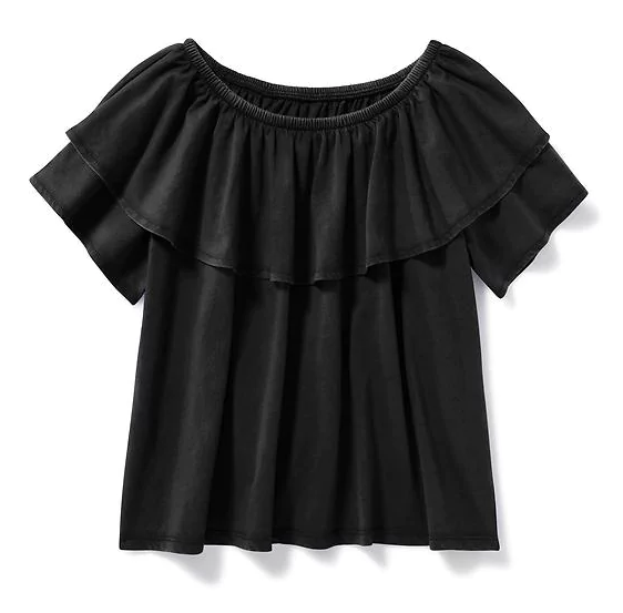 Ruffle-Trim Jersey Top for Girls
