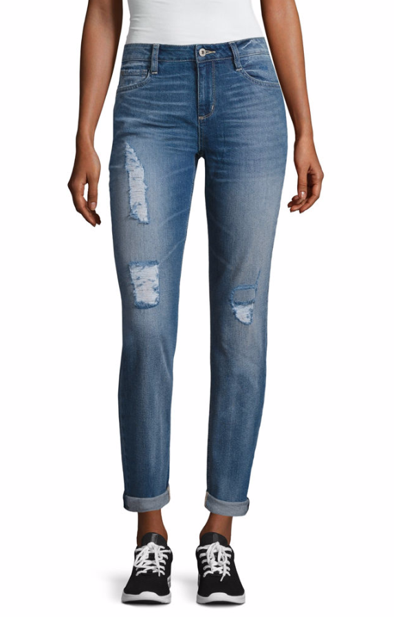 אריזונה Boyfriend Fit Destructed Jeans-Juniors