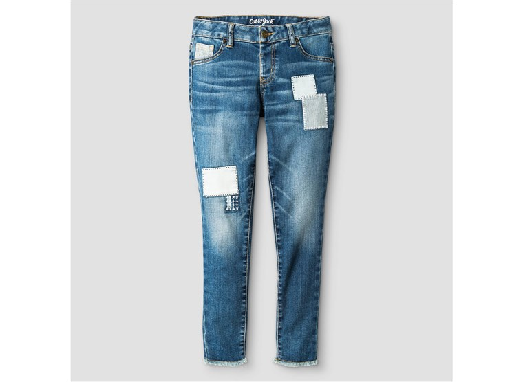 בנות' Patched Skinny Jeans - Cat & Jack(TM) Blue Dusk